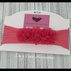 Handmade adorable pink flower nylon headband!